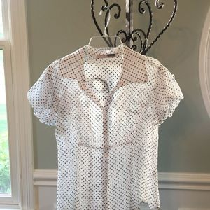 White sheer blouse with blue polka dots